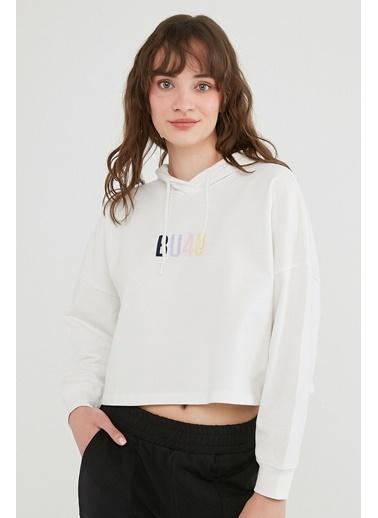 Penti Kadın Kırık Beyaz Bu4U Crop Sweatshirt PHQJZ3FC21IY Beyaz